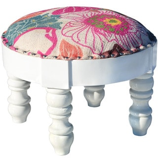 Herat Oriental Indo Cotton-Upholstered Round Wooden Footstool