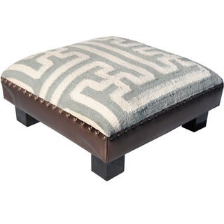 Herat Oriental Indo Handmade Wool and Cotton Upholstered Wooden Footstool