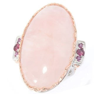 Michael Valitutti Rose Quartz & Rhodolite Ring