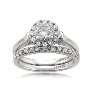 Montebello 14k White Gold 1 1/4ct TDW Certified White Diamond Engagement and Wedding Ring Set (H-I, I1)