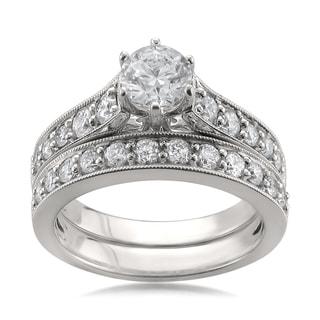14k White Gold 1 5/8ct TDW Certified White Diamond Engagement Ring and Wedding Band Set (H-I, I1)