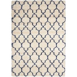 Nourison Amore Ivory/Blue Shag Area Rug (10' x 13')