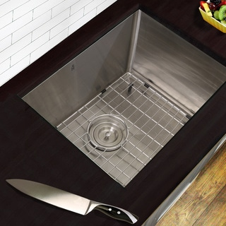 Highpoint Collection 23 Inch Professional Style Small Radius Stainless Steel Undermount Sink with Grid and Drain
