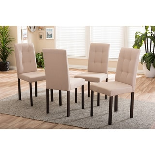Baxton Studio Andrew Modern and Contemporary 4-Piece Beige Fabric Upholstered Grid-tufting Dining Chair Set