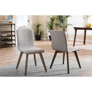 Baxton Studio Sugar Mid-century Retro Modern Scandinavian Style Light Grey Fabric Upholstered Walnut Finish Dining Chair Set, 2