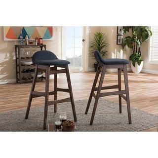 Baxton Studio Bloom Mid-century Retro Modern Scandinavian Style Dark Blue Fabric Upholstered Walnut Wood Finish Barstool Set