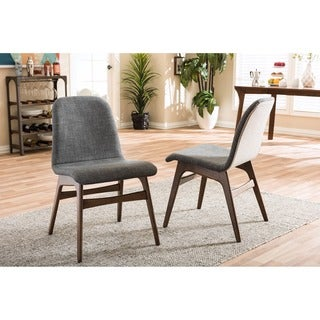 Baxton Studio Embrace Mid-century Retro Modern Scandinavian Style Dark Grey Fabric Upholstered Walnut Finish Dining Chair Set, 2