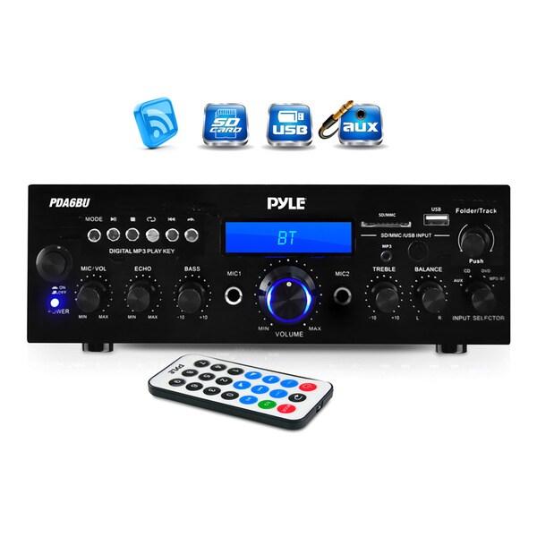 Pyle PDA6BU 200-watt Bluetooth/ FM Radio/ USB/ SD Card/ AUX Stereo Amplifier Receiver with Microphone Inputs 17045215