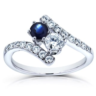 Annello Two Collection 14k White Gold 1ct TCW Sapphire and Diamond 2-Stone Curved Ring (H-I, I1-I2)