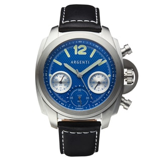 Argenti Expression Men's Swiss Chronograph Soft Genuine Leather Band Luminescent Hands