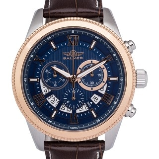 Balmer E-Type Men's Luxury Racing-style Swiss Chronograph Watch with Custom-milled Bezel and Textured Dial