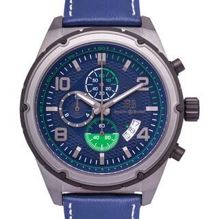 Buech & Boilat Devon Men's Quartz Chronograph Watch with Textured Dial and Multi-level Bezel