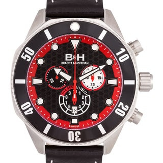 Brandt & Hoffman Men's Dunbar Swiss Chronograph Watch with 50 mm Stainless Case and Genuine Leather Strap