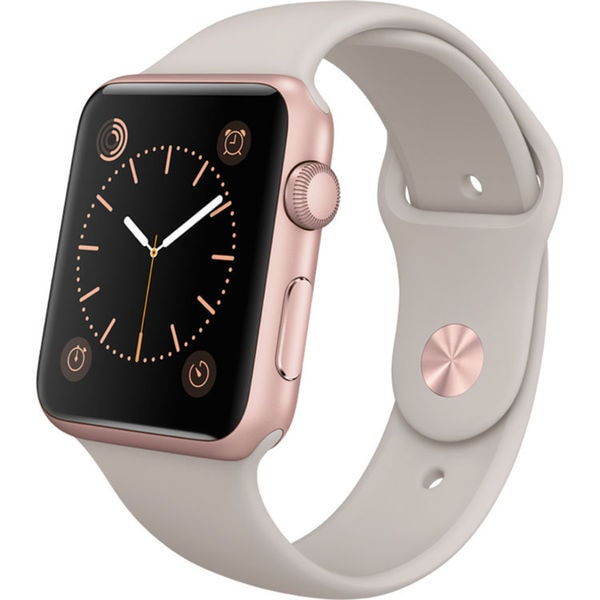Apple Watch Sport 42mm Rose Gold Aluminum Smartwatch with Stone Band