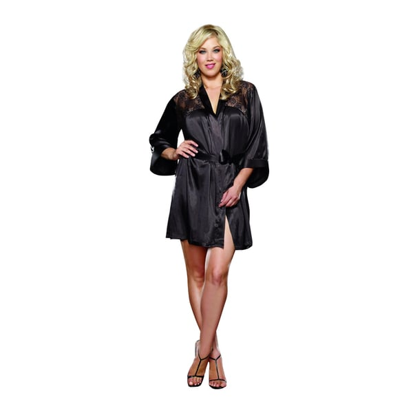 Donna di Capri Women's Charmeuse Lace Short Robe