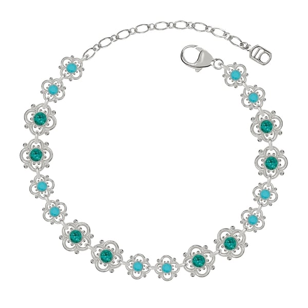 Lucia Costin Sterling Silver Turquoise Green Crystal Bracelet 17045796