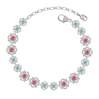 Lucia Costin Sterling Silver Pink/ Light Blue Crystal Bracelet
