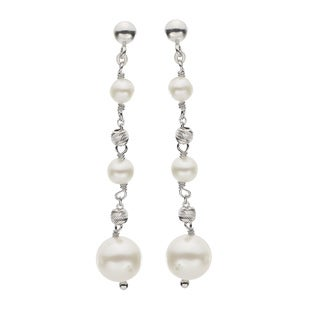 Pearls For You Sterling Silver White Freshwater Pearls and Brilliance Bead Dangle Earrings