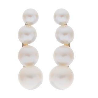 Pearls For You 14k Yellow Gold Graduated Freshwater Pearl Ear Climber Earring