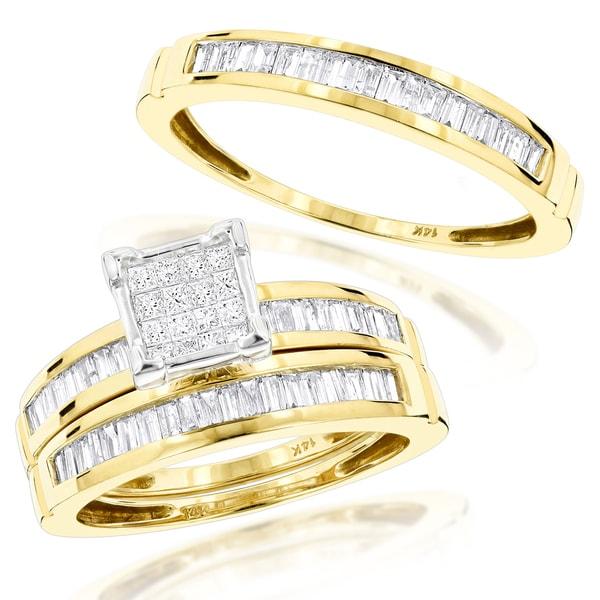 Luxurman 14k Gold 1.60ct Trio Diamond Engagement Ring Set (H, SI-I )