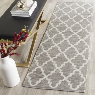 Safavieh Hand-Woven Montauk Grey/ Ivory Cotton Rug (2'3 x 7')