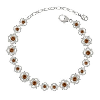 Lucia Costin Sterling Silver Brown Crystal Bracelet with Cute Flowers