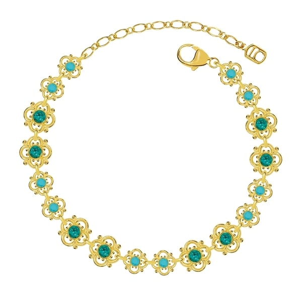 Lucia Costin Sterling Silver Turquoise Green Crystal Bracelet 17045970