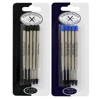Thornton's Luxury Goods Parker Style Ballpoint Refills, Fine, 5 Blue and 5 Black