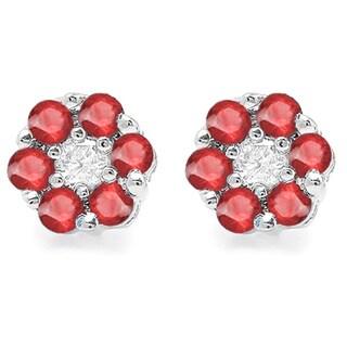 10k White Gold 2/5ct TDW White Diamond and Ruby Cluster Flower Stud Earrings (I-J, I2-I3)