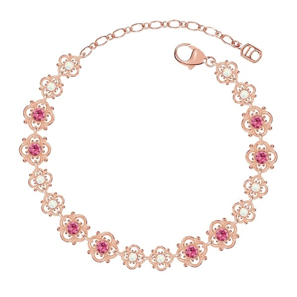 Lucia Costin Sterling Silver Pink/ White Crystal Bracelet with Flowers