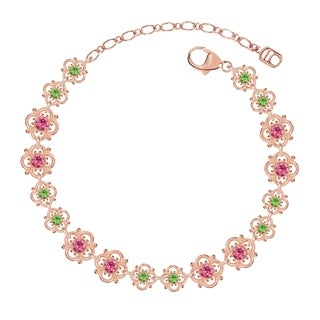Lucia Costin Sterling Silver Pink/ Light Green Crystal Bracelet with Dots