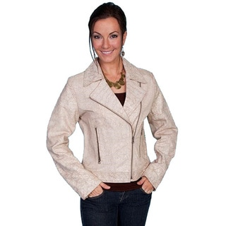 Scully Women's Leather Vintage Cream Biker Jacket