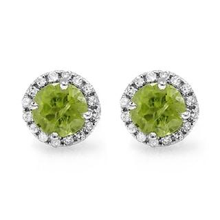 10k White Gold 2ct TDW Round Diamond Halo and Green Peridot Stud Earrings (I-J, I2-I3)