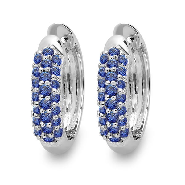 18k White Gold Round Blue Sapphire Pave Set Hoop Earrings