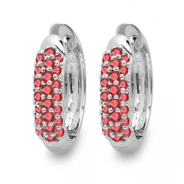 18k White Gold Ruby Pave Set Hoop Earrings