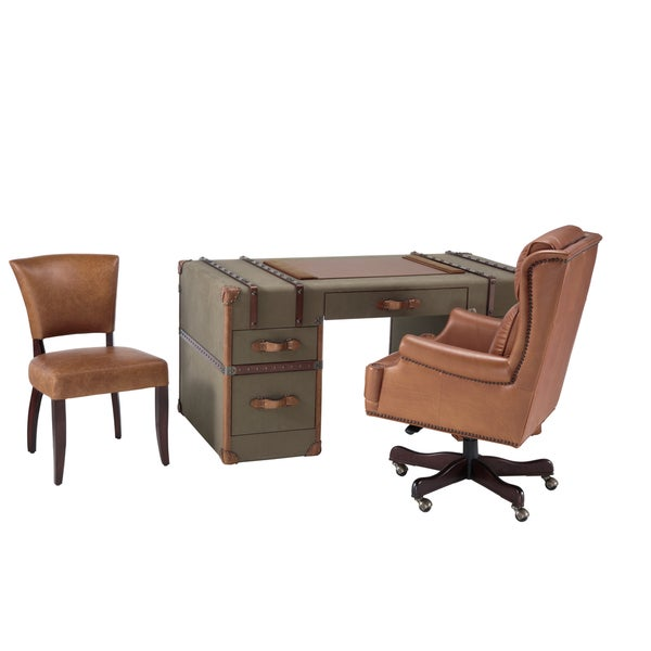 Lazzaro Leather Scotsman Army Green and Caramel Desk