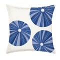 Blue Sea Urchin Repeat Cotton Canvas 20-inch Pillow