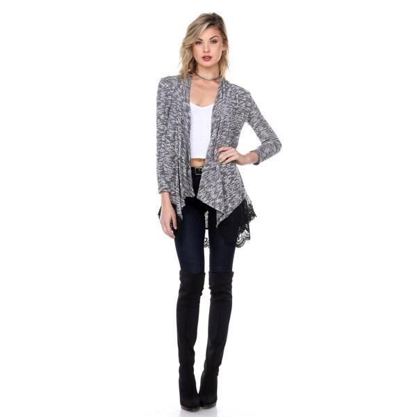Stanzino Women's Lace Trim Tunic Cardigan