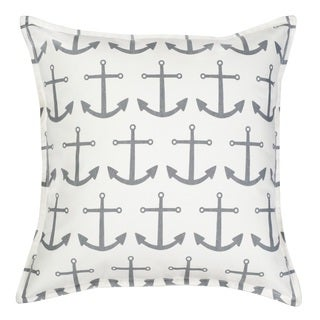 Anchor Repeat Cotton Canvas 20-inch Pillow