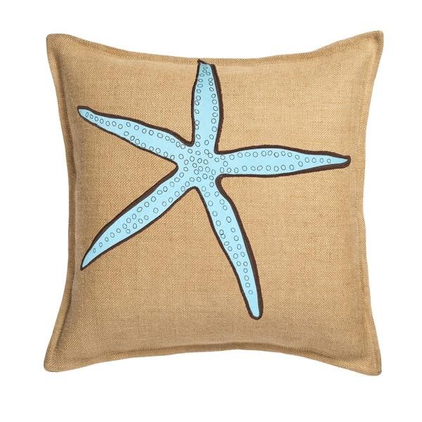 Blue Starfish Print Burlap 20-inch Pillow