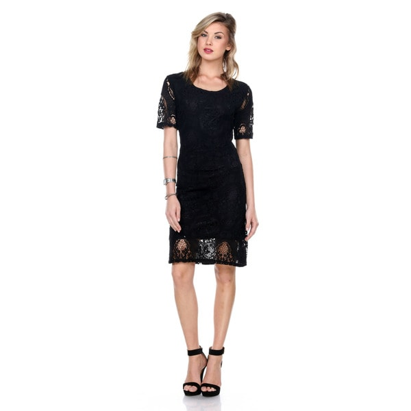 Stanzino Women's Short Sleeve Black Lace Dress