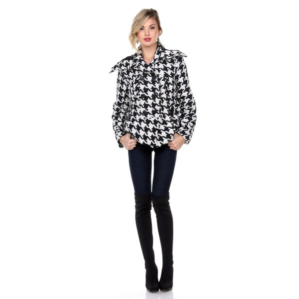 Stanzino Women's Wide Collar Black White Houndstooth Jacket