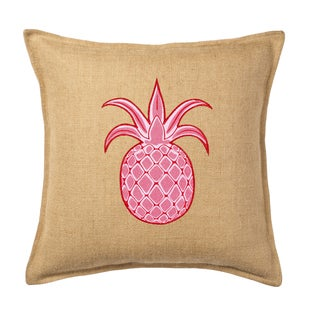 Pink Pineapple Applique Burlap 20-inch Pillow