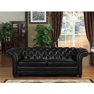 Hancock Tufted Black Italian Chesterfield Leather Sofa And Loveseat 15472808 Overstock