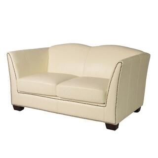 Lazzaro Leather Marilyn White Loveseat