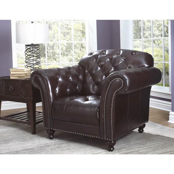 Lazzaro Leather Nicholas Cranberry Chair
