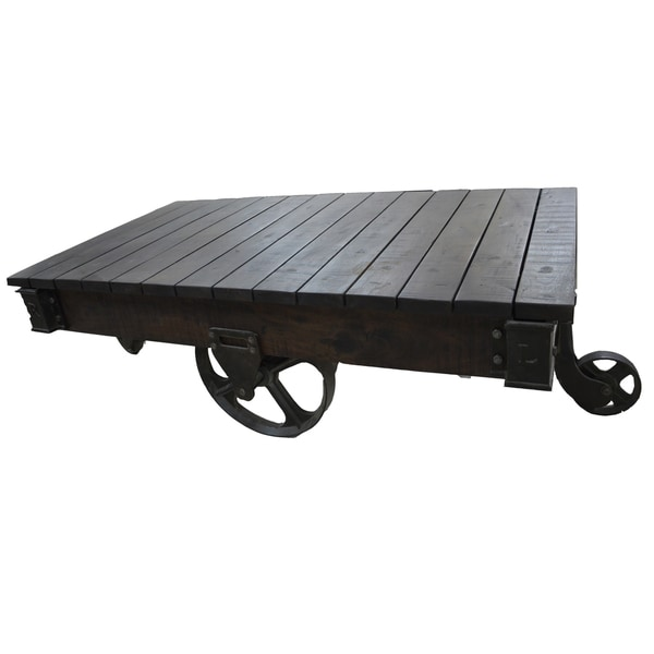 Fenman wood and cast iron coffee table 18055430 for Cast iron outdoor coffee table