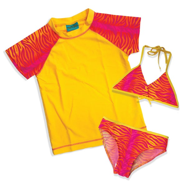 Jump'N Splash Girl's Yellow Zebra 3-Piece Rash Guard Set