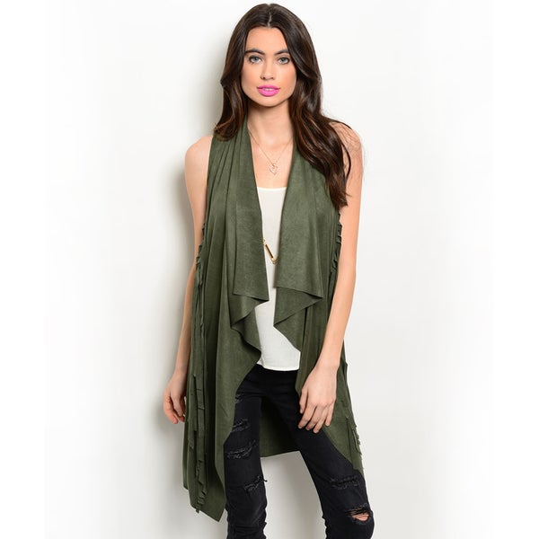 Shop the Trends Women's Sleeveless Suede Fringe Open Cardigan Vest