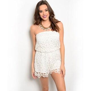 Shop the Trends Women's Strapless Allover Crochet Overlay Blouson Romper